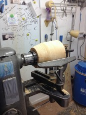 Mounted on the lathe